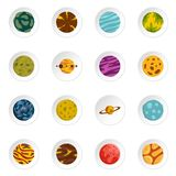 Fantastic planets icons set in flat style. Isolated vector icons set illustration Stock Photo