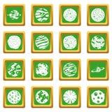 Fantastic planets icons set green Stock Photo