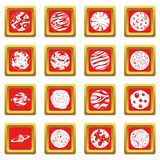 Fantastic planets icons set red Stock Photography