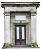 The fantastic portal in another dimension concept. Vintage retro columns and portico over a modern steel door.Isolated with pach stock images
