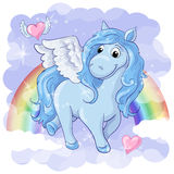 Fantastic postcard with Pegasus. Rainbow and hearts with wings. Vector illustration Royalty Free Stock Photos