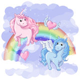 Fantastic postcard with Pegasus and Unicorn. Rainbow and hearts with wings. Vector illustration Stock Images