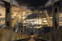 Fantastic railroad steel bridge on sunset. Fantastic railroad steel bridge on cloude sunset Stock Photography