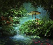 Fantastic river and pond. View of fantasy river with a pond, red fishes and mushroom Stock Images