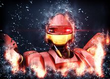 Fantastic robot. Fantastic giant robot in splinters and fire Royalty Free Stock Photos
