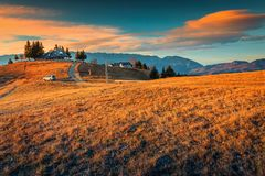 Fantastic rural landscape with sunset, near Brasov, Transylvania, Romania, Europe royalty free stock photos