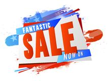 Fantastic Sale for 4th of July celebration. Fantastic Sale background in American Flag colors, Can be used as poster, banner, flyer design for 4th of July Royalty Free Stock Photography