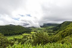 Fantastic Sao Miguel. Fantastic view from the rim of the Sete Cidades Caldera in Sao Miguel in the Azores stock photo