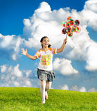 Fantastic scene of happy little girl Royalty Free Stock Photography