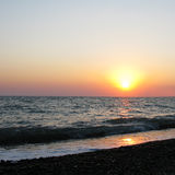 Fantastic sea ocean orange sunset horizon sky photo Stock Image