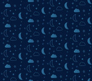 Fantastic seamless pattern with stars and moons. Royalty Free Stock Image