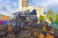 Fantastic self-propelled drilling rig from the movie. DISNEYLAND PARIS, FRANCE - DECEMBER 16, 2017: Fantastic self-propelled drilling rig from the movie ` stock photos