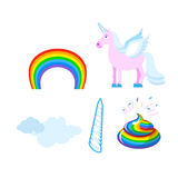 Fantastic set of unicorn. Pink fabulous beast with wings. Blue m Stock Image