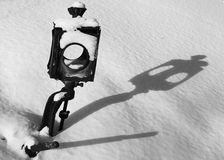 Fantastic shadow of the old railway arrows. Fantastic shadow on snow of an old railway arrow Stock Images