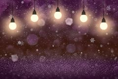 Wonderful glossy glitter lights defocused bokeh abstract background with light bulbs and falling snow flakes fly, festal mockup. Fantastic shiny abstract royalty free illustration