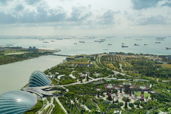Fantastic Singapore view at Gardens by the Bay. View at Gardens by the Bay from Marina Bay Sands Hotel, Singapore Stock Images