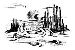 Fantastic sketch landscape stock illustration