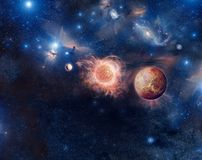 Fantastic space. Beautiful illustration of space, shining stars, planets, galaxies and the bright lights Stock Photography