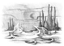 Fantastic space landscape royalty free illustration