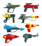 Fantastic space weapons in cartoon style. Weapon gun and pistol, toy blaster and laser. Vector illustration Royalty Free Stock Image