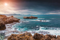 Fantastic spring sunrise on the cape Milazzo Stock Photo