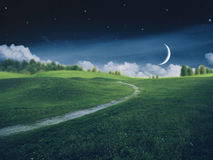 Fantastic starry night on the farmland Stock Images