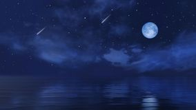 Full moon and falling stars above calm night ocean