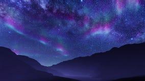 Aurora borealis in night sky at mountain landscape