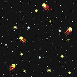 Fantastic starry sky in pixel art style vector seamless pattern. Modern stylish decorative space ornament. Stock Photography