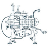 Fantastic steampunk self-propelled machine. With four legs. Vector monochrome illustration Royalty Free Stock Photo
