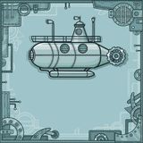 Fantastic submarine. A background - a frame from metal details, the iron mechanism. Royalty Free Stock Images