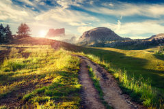 Fantastic summer scene in the mountains. Royalty Free Stock Photo