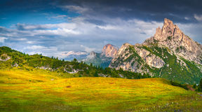 Fantastic summer scene of the Sass De Stria mountain range Royalty Free Stock Photo