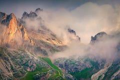 Fantastic summer sunrise on the Tofane mountain range. Stock Images