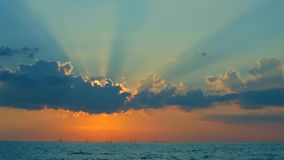 Fantastic Sun Rays From Behind The Clouds stock footage