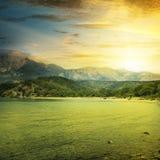 Fantastic sunrise on beach Stock Photography