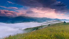 Fantastic sunrise in Carpathian mountains, Ukraine Royalty Free Stock Photo