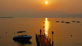 Fantastic sunrise on Lake Garda in Italy Stock Image
