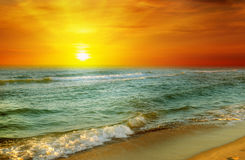 Fantastic sunrise on the ocean Royalty Free Stock Images