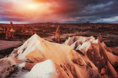 Fantastic sunrise over the Red Valley in Cappadocia, Anatolia, T Royalty Free Stock Image