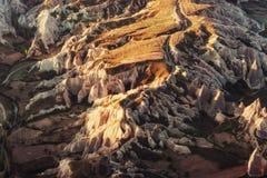 Fantastic sunrise over the Red Valley in Cappadocia, Anatolia, T Stock Image