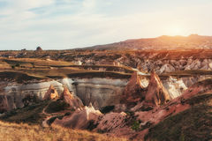 Fantastic sunrise over the Red Valley in Cappadocia, Anatolia, T Stock Images
