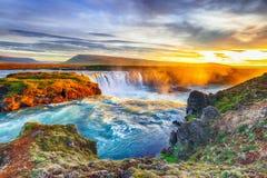 Fantastic sunrise scene of powerful Godafoss waterfall