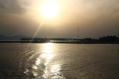 fantastic sunrise by the sea stock image