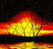 Fantastic sunset. Abstraction bright sunset Stock Photos