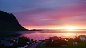 Fantastic sunset in Iceland, a sharp-mountain mountain and a pink sky make an incredible picture stock video footage