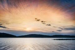 Fantastic sunset on the lake Stock Image