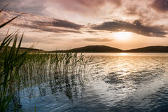 Fantastic sunset on the lake Royalty Free Stock Photos