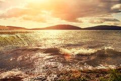 Fantastic sunset on the lake Royalty Free Stock Photography