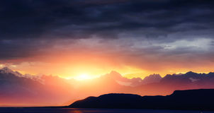 Fantastic sunset in the mountains cumulus clouds. Carpathian Stock Images